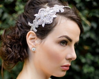 Pearl and Crystal Embellished Applique Headband, CHERYL