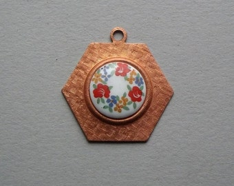 Vintage copper hexagon pendant