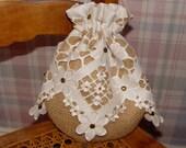 Bridal purse rustic country wedding burlap bag hessian drawstring pouch