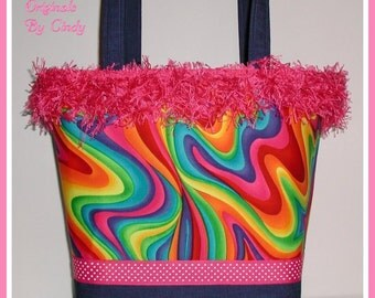Rainbow Purse Psychedelic Swirls Tote Bag Pink Blue Red Orange Yellow Green Medium Size Very Colorful Design