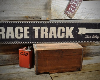Race Track This Way Arrow Sign - Primitive Rustic Hand Made Vintage Wooden Sign ENS1000350