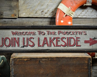 Custom Welcome To Lake House Sign - Rustic Hand Made Vintage Wooden ENS1000624