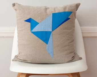 Blue Bird Origami Patchwork Silk and Linen Pillow - 18 Inches LAST ONE!