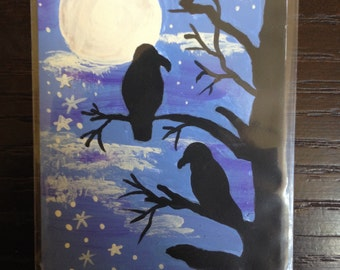ACEO Crows Under the Moon Painting OOAK collector card