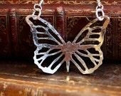 Handmade large silver pierced butterfly pendant