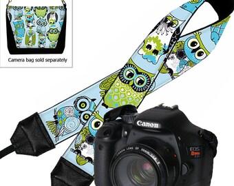 Owl Camera Neck Shoulder Strap for Women Dslr Padded Camera Strap SLR Padded Strap Travel Camera Strap  blue green RTS