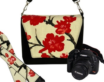SET Dslr Camera Bag and Dslr Camera Strap, Camera Bag Slr and Camera Neck Strap, Asian Cherry Blossom Floral MTO
