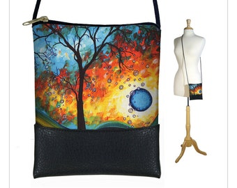 MadArt  Sling bag, mini crossbody bag fits iPhone 6 Plus, small shoulder bag purse,  Aqua Burn moon tree MTO