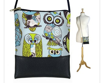 SALE Cute Owl Mini crossbody bag, Small sling bag, Large Cell Phone Case fits iPhone 6 Plus, Cross body purse,  blue green MTO