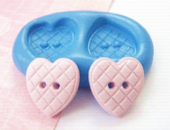 Double Quilted Heart Buttons Silicone Mold / Mould 15  mm - DiY Polymer Clay Sugarpaste Fimo Resin Gumpaste Push Mold