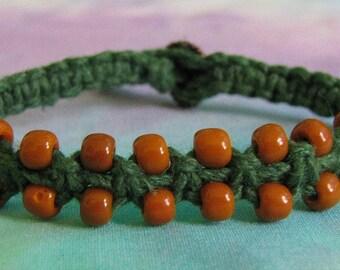 Green Hemp Bracelet with Mustard Seed Beads