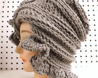 Gray Crochet Hat Womens Hat, Ruffle Crochet Beanie Hat, Gray Hat, Winter Hat, CYNTHIA Beanie Hat for Women
