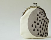 Tall coin purse / card holder - black rain drops on gray and natural