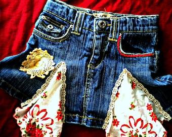 Girls Christmas Jean Skirt
