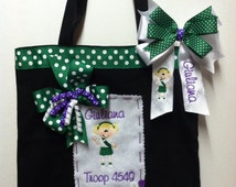 ... ~ Personalized~ Monogrammed Junior Girl Scout Tote Bag & Hair Bow Set