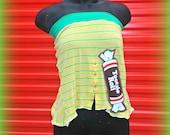 Yellow Tube Top Womens yellow shirt Flirty Shirt Striped Shirt Reconstructed Mens Shirt