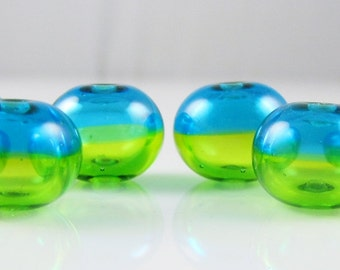 Mini Aqua Lime Hollow Lampwork Glass Bead Set (6)