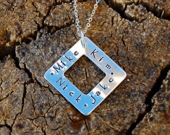 Hand Stamped Square Sterling Silver Washer Necklace