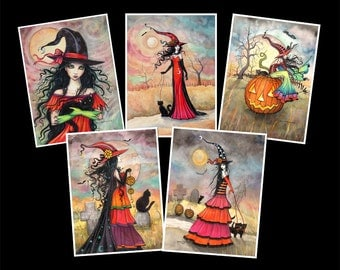 SALE - 5 Halloween Witch and Cat Art Prints - 5 x 7 size - Archival Giclee Prints by Molly Harrison Fantasy Art