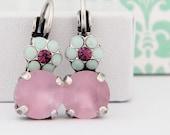 Mint Lilac Amethyst Swarovski Crystal Flower Antique Silver Leverback Earrings