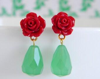 Petite Red Rose Jade Green Teardrop Earrings