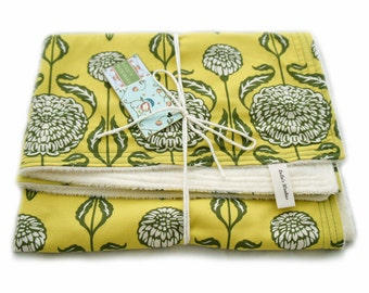Crib Blanket Chrysanthemum Sage and Citron Green with Cream Minky Chenille Throw Blanket Toddler Bed Size Baby Girl Gift