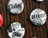 Metallic Detroit Map Pins - Set of Three