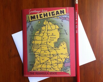 Greetings From Michigan 1940's Card -Blank Inside