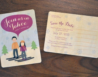 Custom Illustrated Save the Dates on Wood or Cardstock