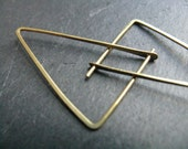 Shakti, thin minimalist triangle earrings, small geometric hoop earrings in gold tone brass, simple modern