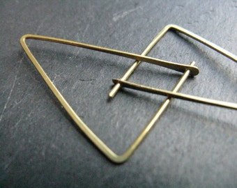 Shakti, small triangle earrings, thin geometric  hoop earrings , golden brass, edgy minimalist earrings