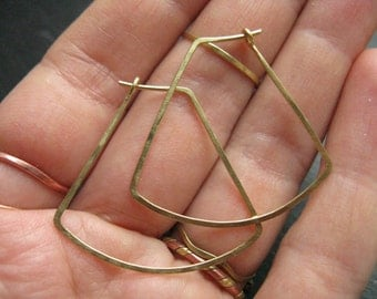 Sun ray, small geometric hoop earrings, gold brass trapeze, tribal, ethnic, egyptian inspired, 925 silver available