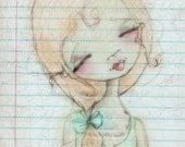 Print of my digitally enhanced sketch - Sketchbook Girl 9.28.14
