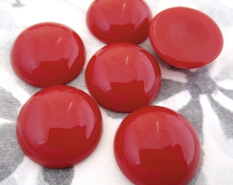 18 pcs. vintage cherry red plastic flat back cabochons 18mm - f4220