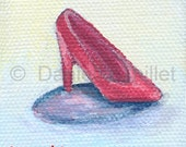 Pink Doll Shoe - OOAK Original Miniature Acrylic Painting