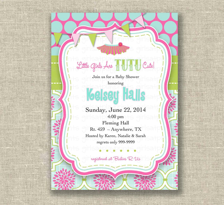 baby girl shower invitation tutu pink green by girlsatplay on etsy