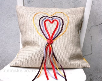 Love heart pillow cushion embroidered linen ribbon hearts decorative pillow red yellow purple cover memake handmade home decor