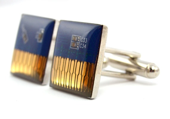 Circuit Board Cufflinks in Blue Squares Mens Jewelry