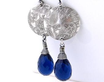 Sterling Silver Earrings Blue Sapphire Earrings Blue Earrings Blue Gemstone Jewelry Long Silver Earrings Dangle - Kristen