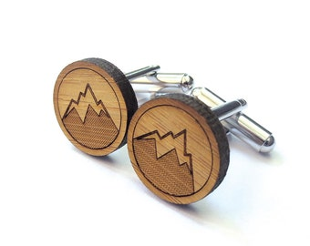 Mountain Man Cufflinks. Mountain Cufflinks. Wood Cufflinks. Groomsmen Gift. Groom Gift. Mountains Are Calling. Gift For Men. Mens Gift. Dad.