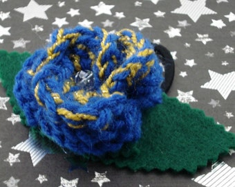 Idris - Crocheted Rose Ponytail Holder or Bracelet - Blue and Gold (SWG-HP-DWID01)