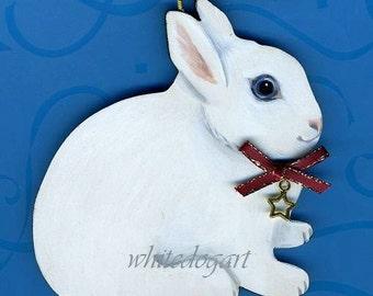 Handpainted WHITE Dwarf Rabbit Christmas Ornament