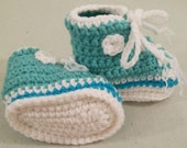 Baby  Tennis Shoes--light turquoise-Infant, Baby--Crochet--#327