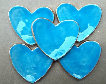 FIVE  Turquoise Ceramic Heart ring bowls itty bittys