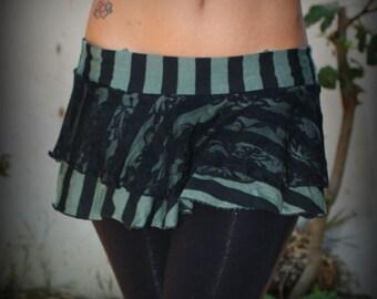 SALE 25% OFF!!! Flirt Skirt Double Ruffle - Green Black Circus Stripe
