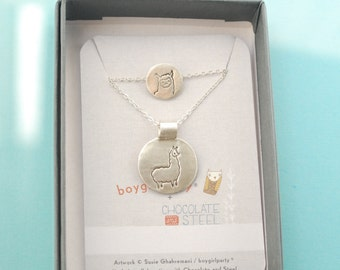 Mother/Daughter silver LLAMA NECKLACE SET, Illustrations by Boygirlparty. Handcrafted by Chocolate and Steel