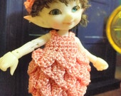 Medium pink petal dress & hat for Real Puki