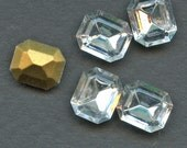 OCTAGON RHINESTONES (25) 12 mm x 10 mm Vintage SWAROVSKI Glass Large Rectangle jc oct1210SWAR  Gold Foil Back  MoRE AVAlLABLE