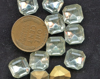 LARGE OCTAGON RHINESTONES  Lot of (12)  Vintage Clear Crystal Glass Square 10mm x 10mm Gold Foil Back jc octsq1010  mORE AVAlLABLE