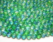 Czech Glass Beads 8mm Tahitian Blue Fluted Melon Round Beads 25pcs (2959) Czech Druk Beads